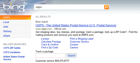 how to track ups fedex usps dhl packages with bing search tech packets. Black Bedroom Furniture Sets. Home Design Ideas