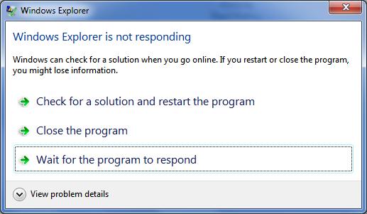Windows Explorer Không đáp ứng