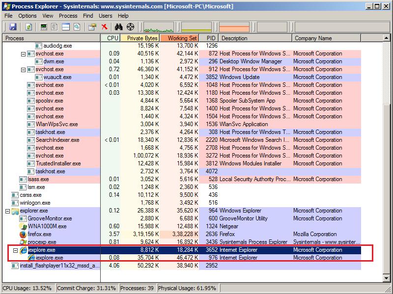 Process Explorer Chọn Nhiệm vụ